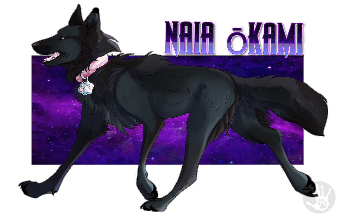 Artwork of Naia's theriotype by Elle Wulf.